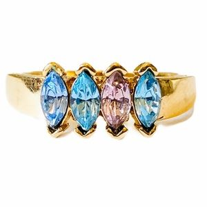 Gold Plated 4 Marquise Gem Ring